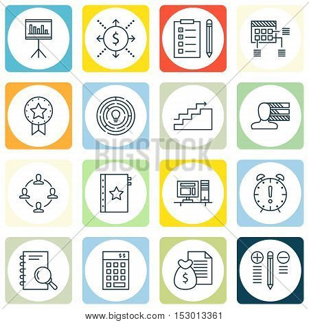 Set Of Project Management Icons On Decision Making, Growth And Reminder Topics. Editable Vector Illu