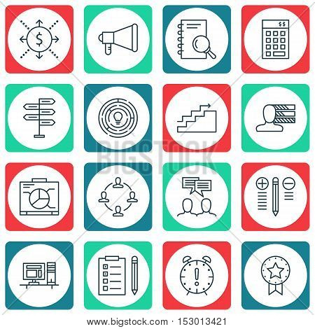 Set Of Project Management Icons On Opportunity, Present Badge And Reminder Topics. Editable Vector I