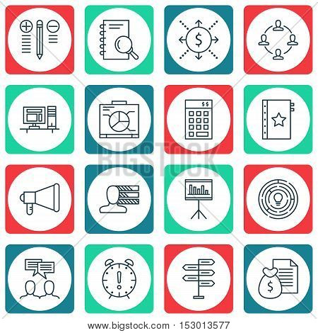 Set Of Project Management Icons On Board, Warranty And Investment Topics. Editable Vector Illustrati