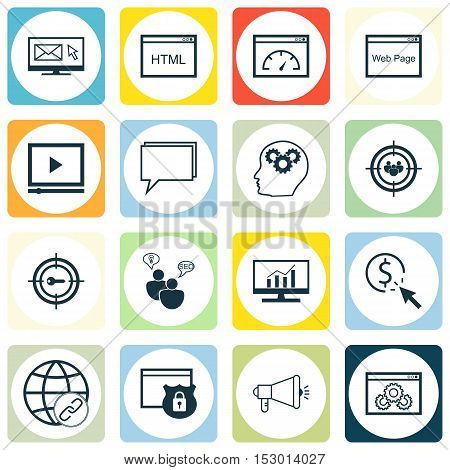 Set Of Marketing Icons On Video Player, Focus Group And Coding Topics. Editable Vector Illustration.