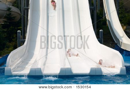 Children On The Waterslide