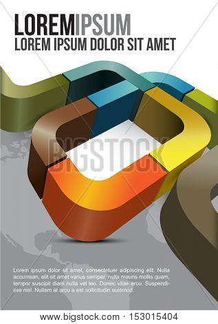 Vector brochure cover design with stripes and continents in the background