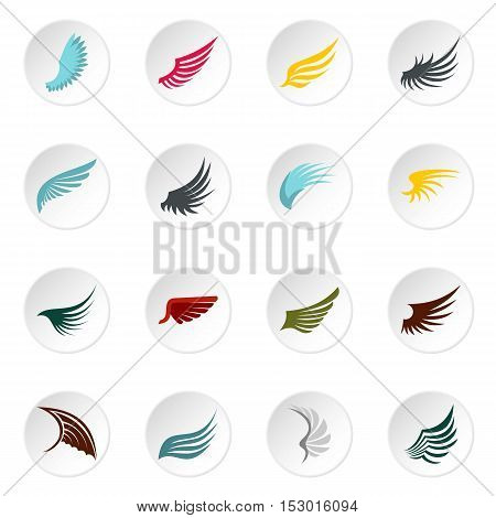 Wing icons set. Flat illustration of 16 wing vector icons for web