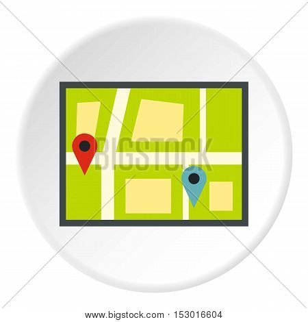 Geo location of taxi icon. Flat illustration of geo location of taxi vector icon for web