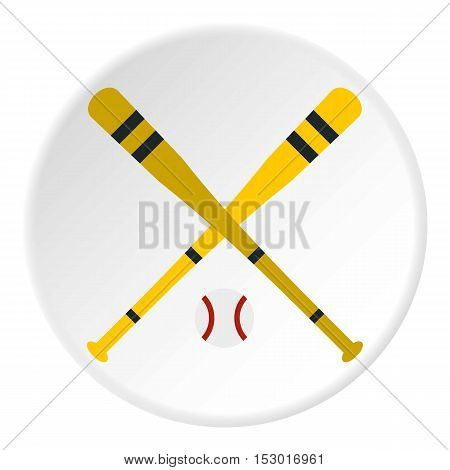Baseball bat and ball icon. Flat illustration of baseball bat and ball vector icon for web