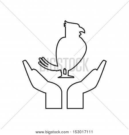 Bird over hands icon. Pet animal domestic and care theme. Isolated design. Vector illustration