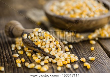 Wooden Table With A Portion Of Corn
