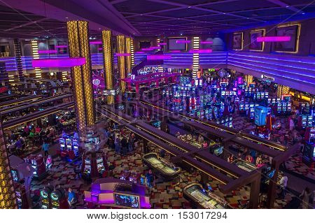 LAS VEGAS - OCT 05 : The interior of Planet Hollywood hotel and Casino on October 05 2016 in Las Vegas. Planet Hollywood has over 2500 rooms and it located on the Las Vegas strip.