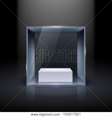 Glass Showcase in Cube Form for Presentation on Black Background