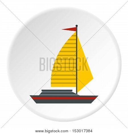 Yacht with sails icon. Flat illustration of yacht with sails vector icon for web