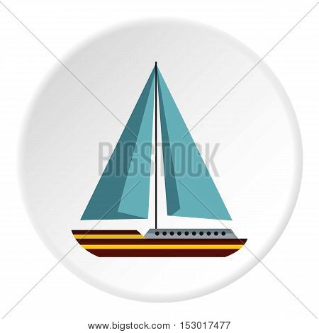 Sea yacht icon. Flat illustration of sea yacht vector icon for web