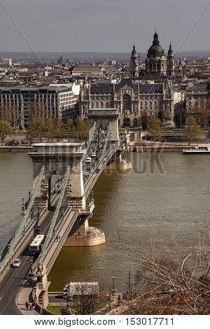 Budapest, capital of Hungary, Pest View with the Chain Bridge, Danube river, Gresham Hotel and the St. Stephen Basilica