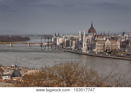 Budapest, capital of Hungary, Margaret island view with Parliament and the Danube river