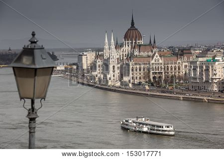Budapest, capital of Hungary, view of the Parliament from the Palace Royal gardens and the Danube river