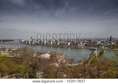 Budapest, capital of Hungary, view of the Parliament from the Palais Royal gardens and the Danube river
