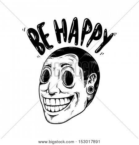 Be Happy Smile Cartoon Icon Concept