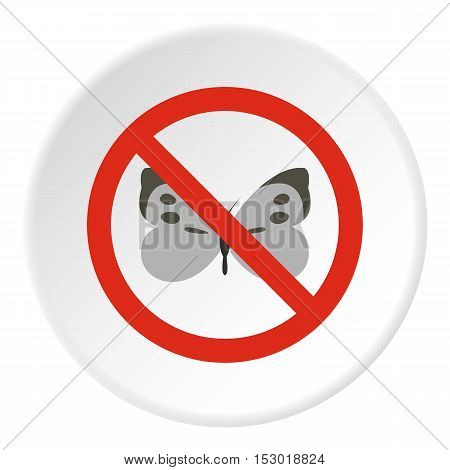 Prohibition sign butterfly icon. Flat illustration of prohibition sign butterfly vector icon for web
