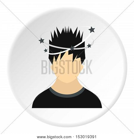 Male avatar and stars from blow icon. Flat illustration of male avatar and stars from blow vector icon for web