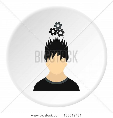Male avatar and gear icon. Flat illustration of male avatar and gear vector icon for web