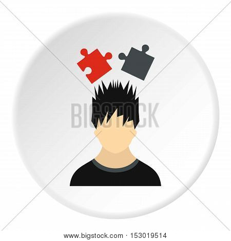 Male avatar and jigsaw puzzles icon. Flat illustration of male avatar and jigsaw puzzles vector icon for web