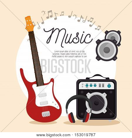 music electric guitar speaker headphone note vector illustration