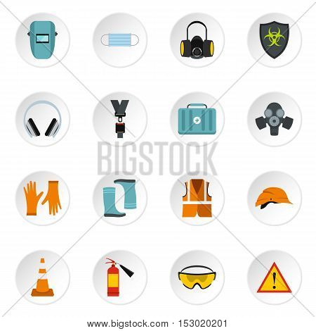 Individual protection icons set. Flat illustration of 16 individual protection vector icons for web