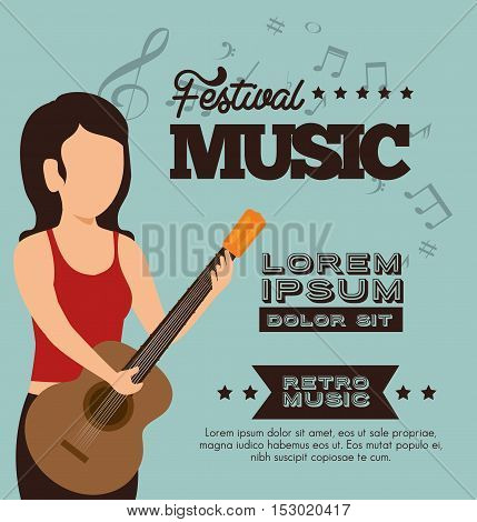 character woman guitar festival music poster vector illustration