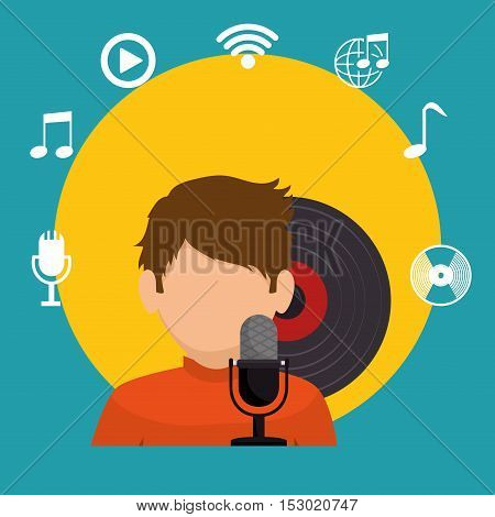boy character sniging lp music icons vector illustration eps 10