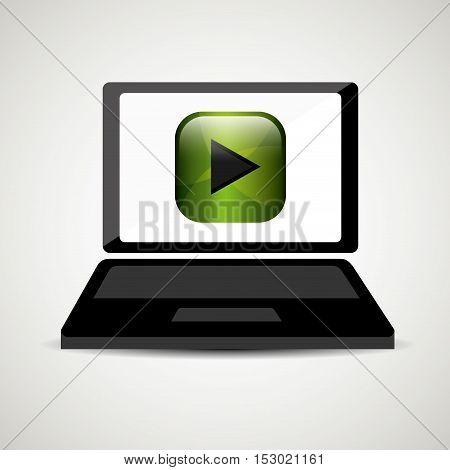 laptop player music online digital vector illustration