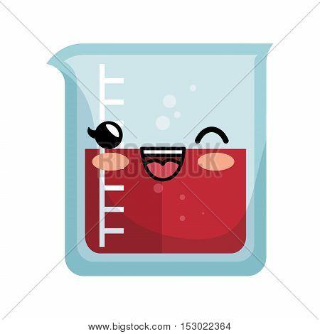 kawaii chemistry test tube lab icon vector illustration eps 10
