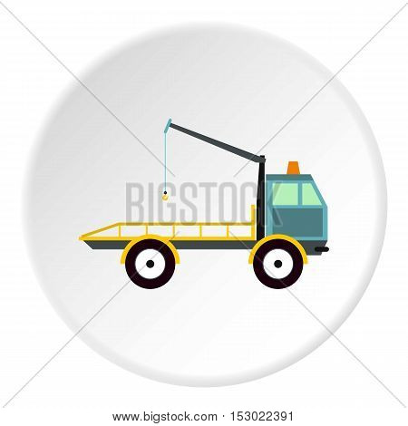 Tow truck icon. Flat illustration of tow truck vector icon for web