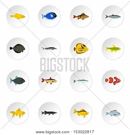 Fish icons set. Flat illustration of 16 fish vector icons for web