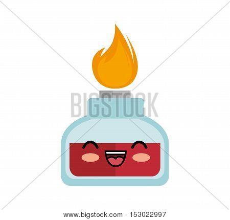 kawaii cute bunsen burner lab vector illustration eps 10