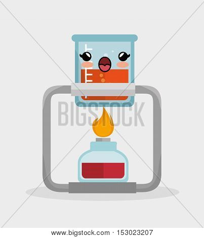 kawaii beaker lab with bunsen burner chemistry vector illustration eps 10