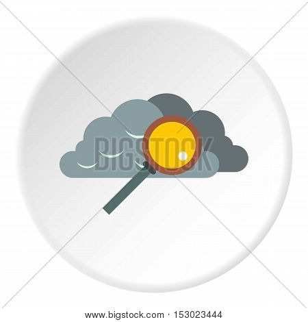 Search files in cloud storage icon. Flat illustration of search files in cloud storage vector icon for web