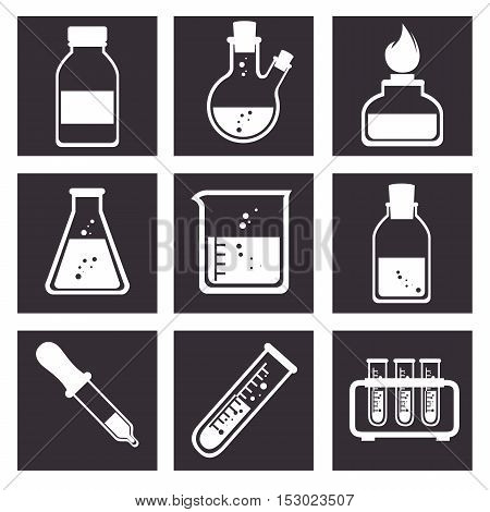 laboratory tools tube icons design vector illustration eps 10