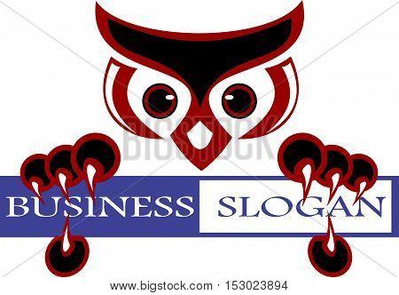 stock logo head owl bird hold slogan business