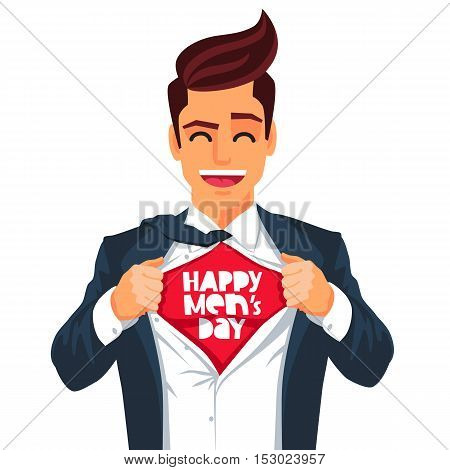 Handsome young man in a business suit wearing a tie with a white shirt. Vector illustration on white background. The concept of a successful businessman. Hero ripping off his shirt. Quote Happy Men's Day.