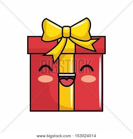red gift kawaii smile icon vector illustration eps 10