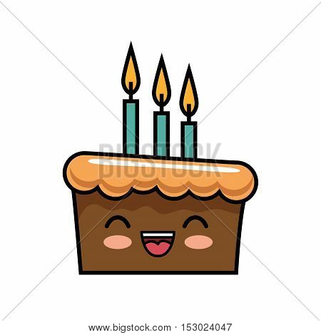 cute kawaii cake chocolate candles happy vector illustration
