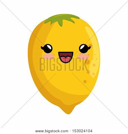 kawaii cute lemon citrus yellow icon vector illustration eps 10