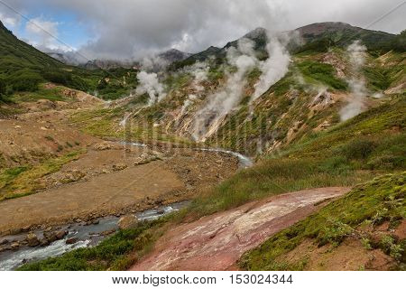 Famous Valley of Geysers. Kronotsky Nature Reserve on Kamchatka Peninsula.
