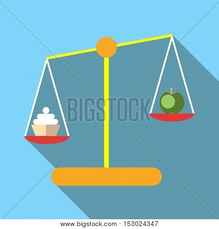 Scales with cookies and apple icon. Flat illustration of scales with cookies and apple vector icon for web
