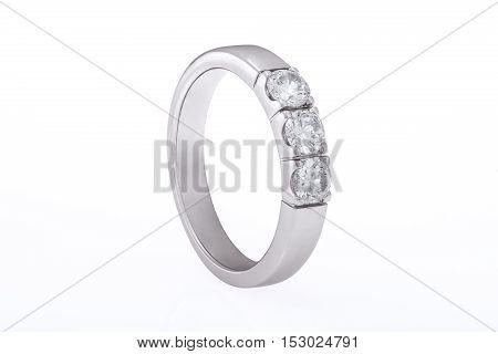 White gold wedding engagement ring with diamonds on white background