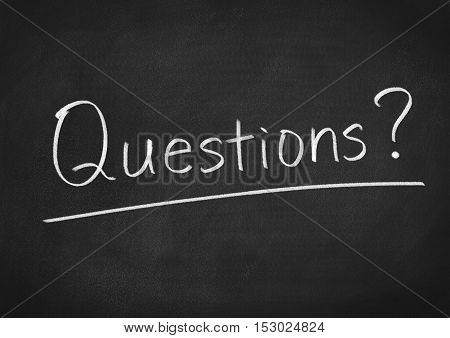 Questions concept word text on blackboard background