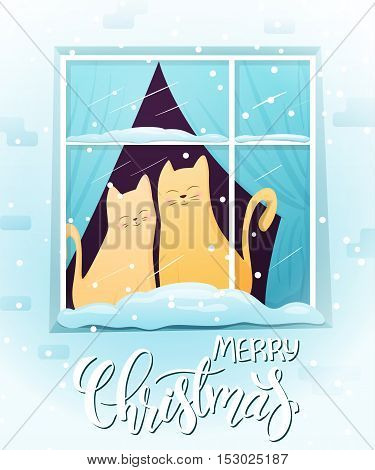 vector illustration of couple hand drawn cats, sitting on window with greeting lettering phrase - merry christmas - with snowflakes. Design for greeting card or poster.