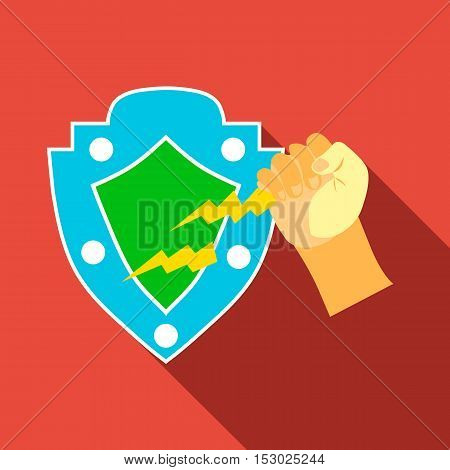 Arm and protective shield icon. Flat illustration of arm and protective shield vector icon for web