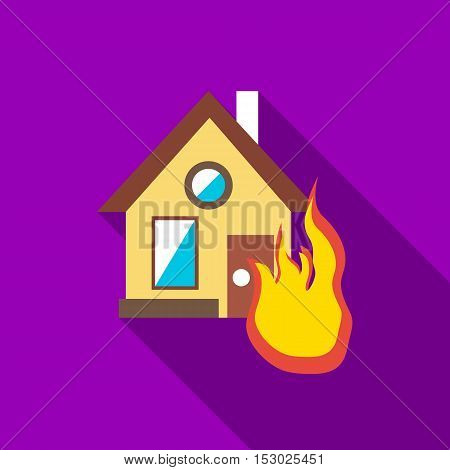 Protect home from fire icon. Flat illustration of protect home from fire vector icon for web