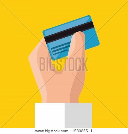 hand holds credit card save money icon vector illustration eps 10