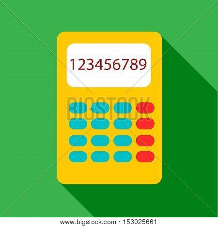 Yellow calculator icon. Flat illustration of yellow calculator vector icon for web